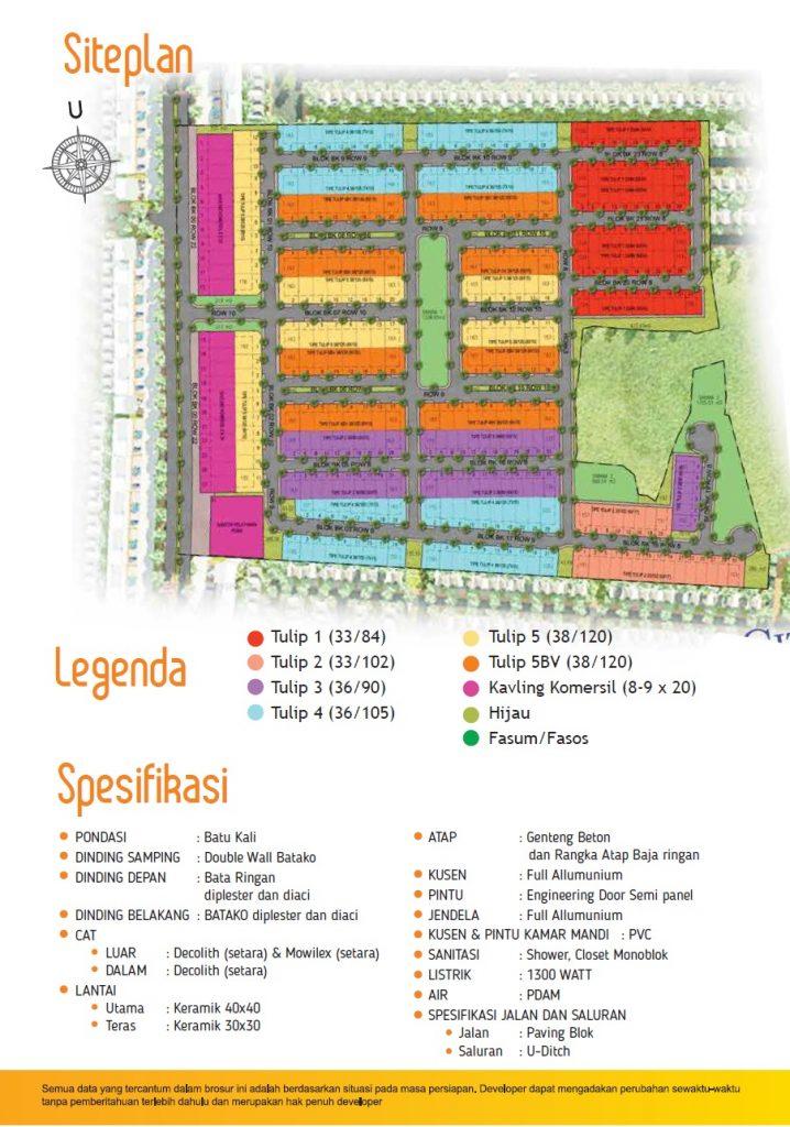 Tulip siteplan dan spesifikasi Tulip Brosur Citra Indah City