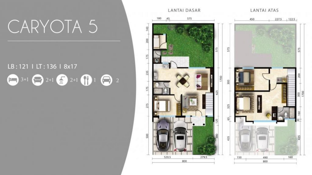 Denah Caryota 5 rumah 2 lantai CitraLand Cibubur
