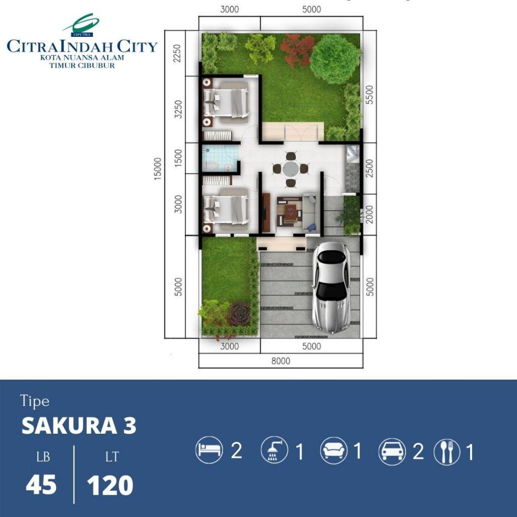 Denah Sakura 3 - 45-120 Citra indah City