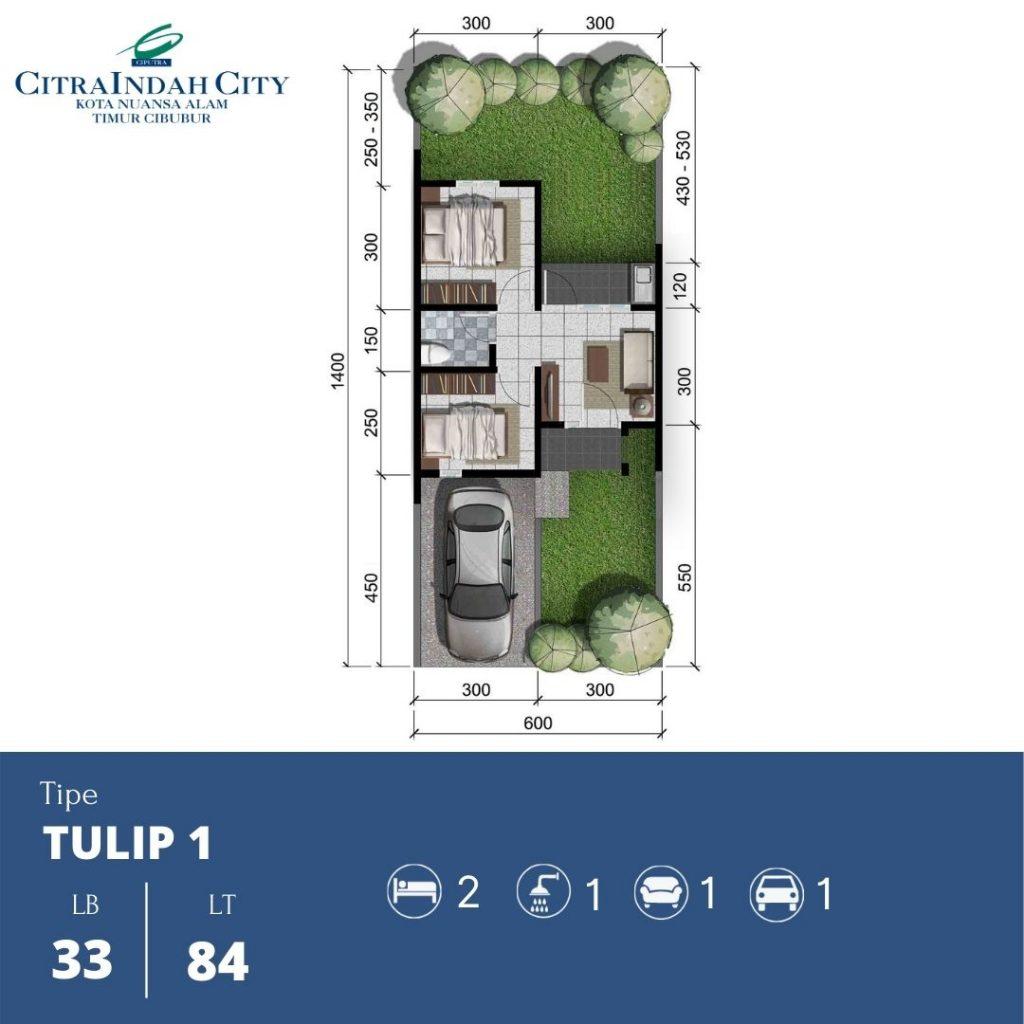 Denah Tipe Tulip 1 - 33-84 Citra Indah City