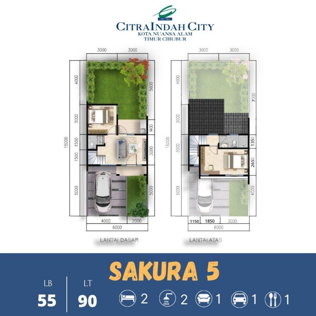 Denah Rumah 2 Lantai Sakura 5 - 55-90 Citra indah City