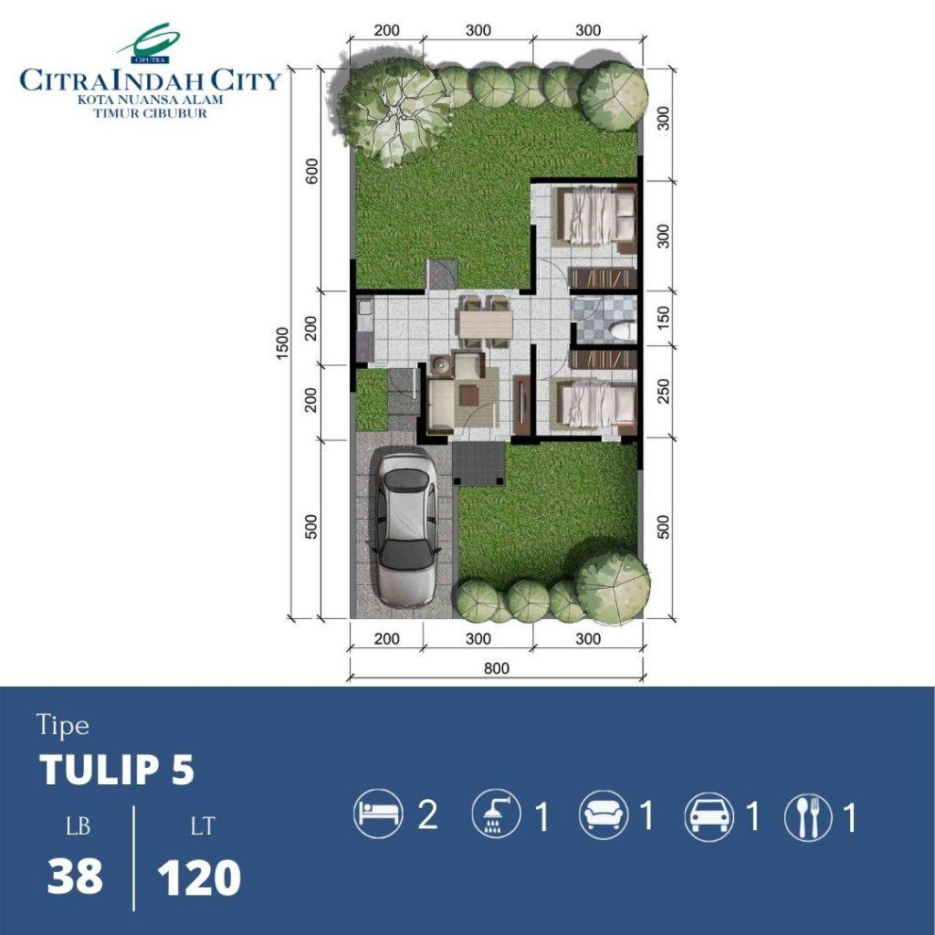 Denah Tipe Tulip 5 - 38-120 Citra Indah City