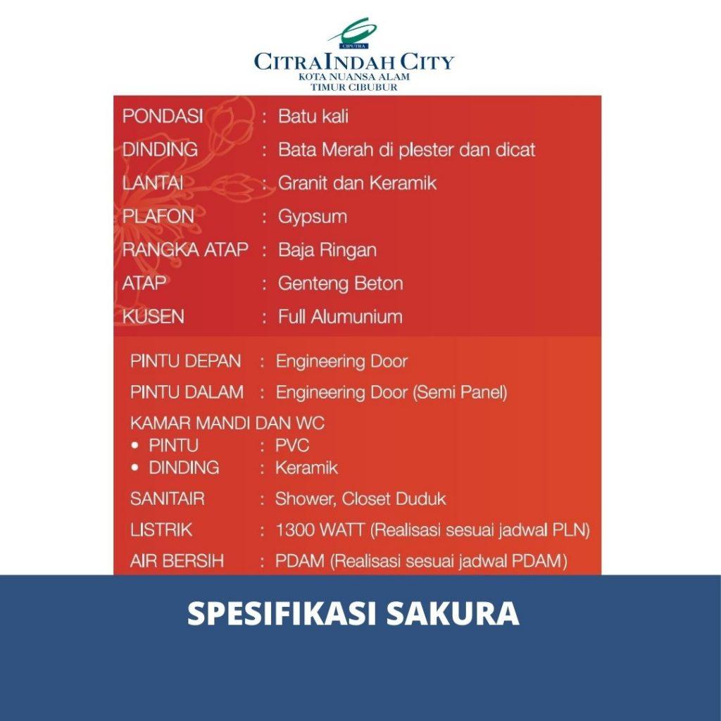 Spesifikasi Sakura Citra Indah City